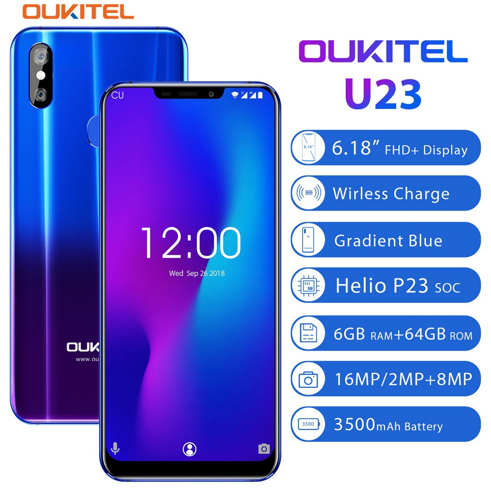 """OUKITEL U23 6.18"""" Notch Display Android 8.1 Mobile Phone MTK6763T Helio P23 Octa Core 6G 64G Wireless Charge Face ID Smartphone"""