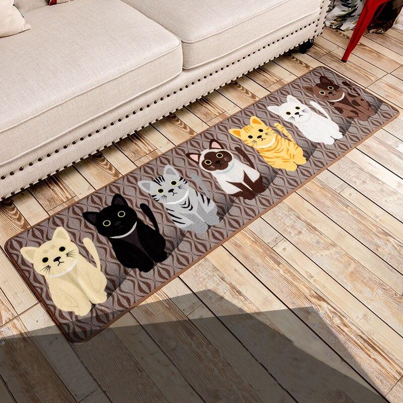 さまざまなサイズファッション洗える床マットカワイイ猫デザインキッチンカーペットトイレ滑り止めの敷物ポーチ玄関