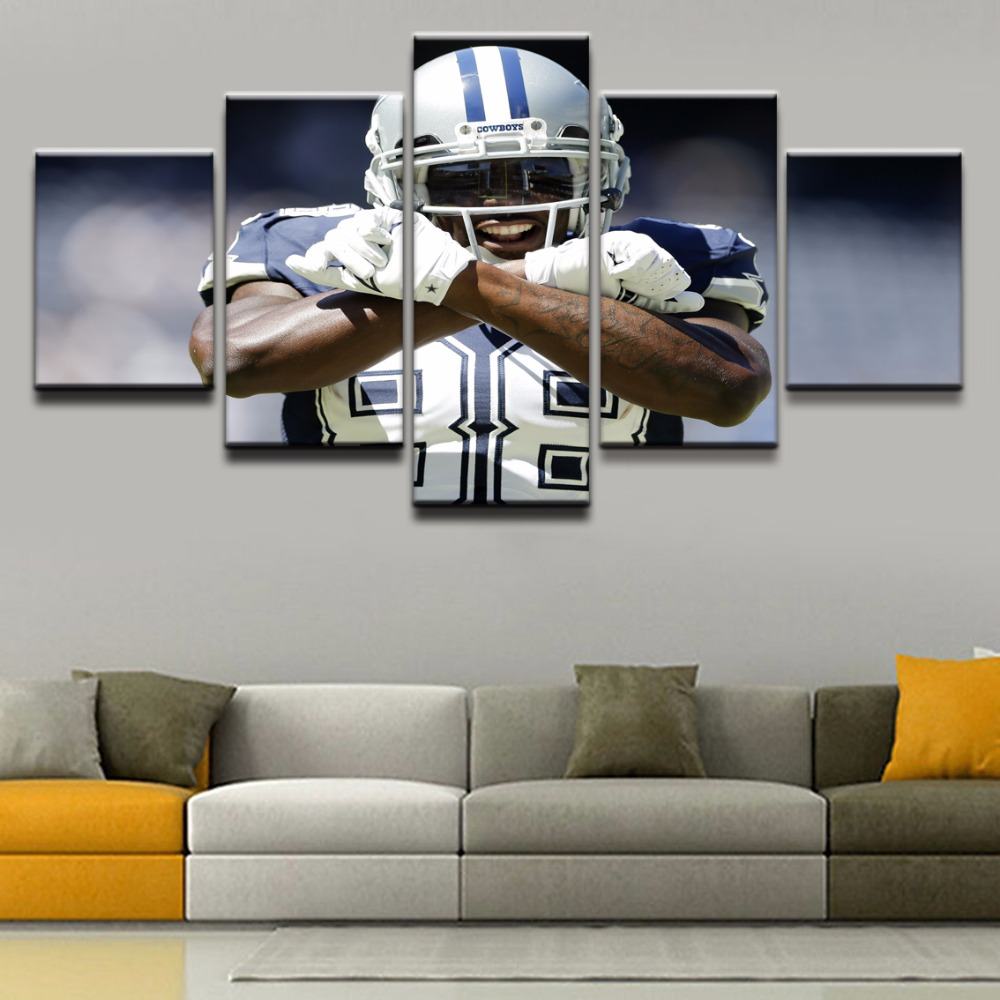 JIE DO ART 5 Pieces Unique Sports Poster Dallas Cowboys Canvas Painting Pictures Home Decorative For Living Room