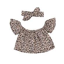 Toddler Baby Girl Blouse Kids Off Shoulder Crop Costume Leopard Summer Tops Slash Neck Girls Children Clothing Outfits Cute tie neck off shoulder crop blouse