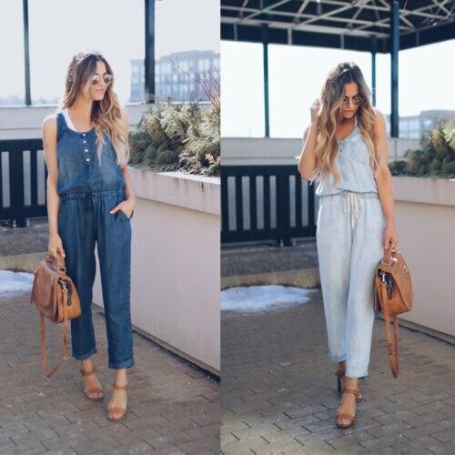 De las mujeres de la moda Denim Jeans mono sólido Regular vendaje vaqueros Peto overoles Pantalones de bolsillos de botón Pantalones