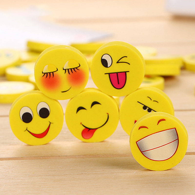 4Pcs/lot Kawaii Emoticon Rubber Mini Eraser Pencil Creative Cartoon Stationery For Students Cute Office School Supplies