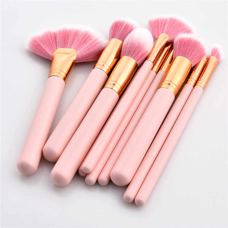 10PCS Makeup Brushes Set Pink Handle Women Foundation Make up Brush Beauty Tools Kit for Lip Eye Liner maquiagem T10083