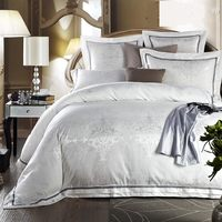 6pcs White Jacquard bedding set Luxury Embroide Satin duvet/quilt cover king queen size bedclothes bed sheet cotton home textile