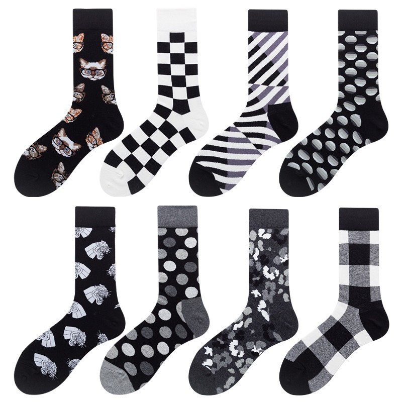 PEONFLY Harajuku Style Men   Socks   Black White Plaid Dot Cat Pattern Happy   Socks   New 2019 Hip Hop Combed Cotton Calcetines