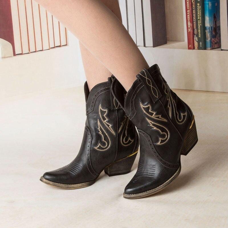 del mujeres botas tendencia para en 2015 zapatos botas verano mujer nacional étnico moda de para occidental primavera mujer Botines vaquero tobillo bordado waUzXU0pqg