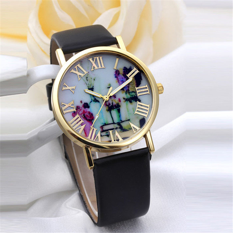 Relogio Femino new Women Fashion Vases Dial Leather Band Quartz Analog Wrist Watches new fashion women retro digital dial leather band quartz analog wrist watch watches wholesale 7055