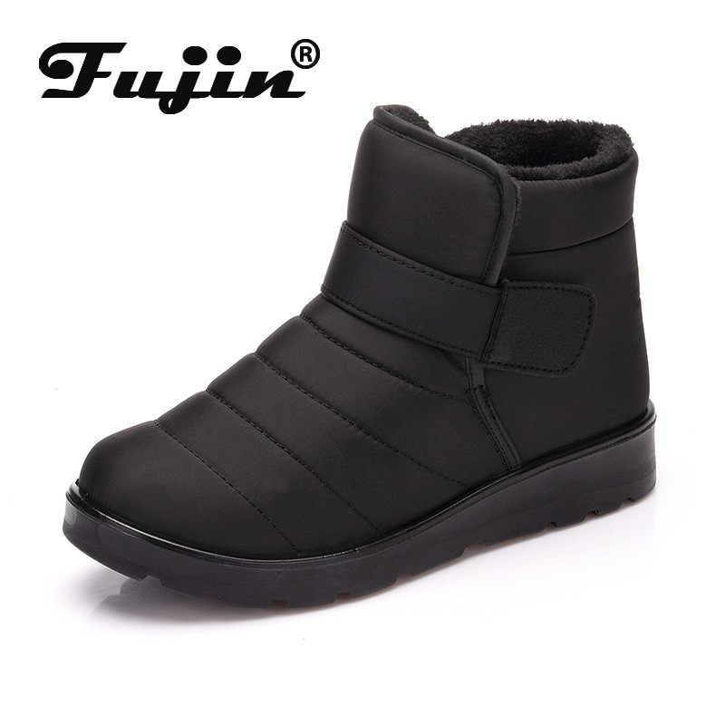 Fujin Kadın Kış Kar Botları Dropshipping Sıcak Softsole pamuklu ayakkabılar Pazen Ayakkabı Rahat Kayma Geçirmez Eğlence kısa çizmeler