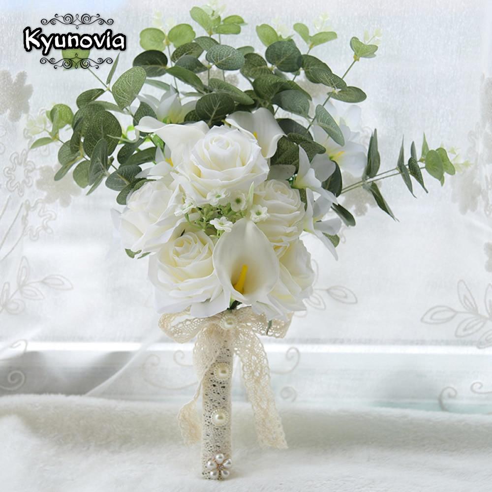 Kyunovia Boho Braut Hochzeit Blumen Mini Brautjungfer Bouquet Real