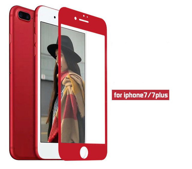 new style b00b9 fcc98 US $89.25  Red 3D Round Curved Edge Full Cover Protective Tempered Glass  Screen Protector for iPhone 8 Plus Premium with red retail package-in Phone  ...