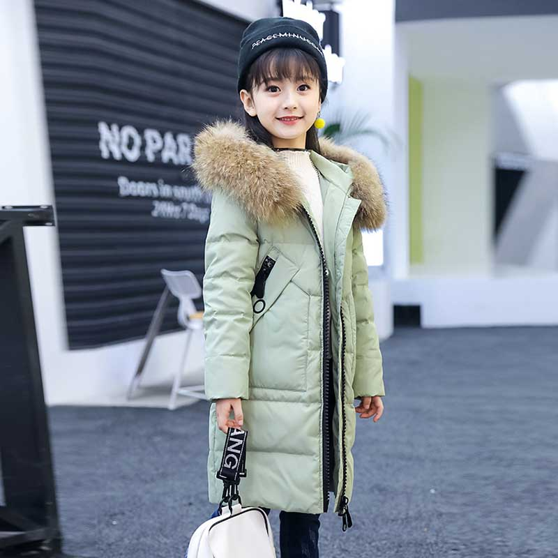 Fashion Girls Winter Down Jacket Children's Full Sleeves Warm Coat Fur Hooded Thick Warm Long Parkas Children Outerwear Jackets russia winter boys girls down jacket boy girl warm thick duck down