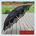 Vintage Lace Embroidery Umbrella Cotton Battenburg Lace Wedding Bridal Umbrella Black Parasol Umbrella Decorations Free Shipping