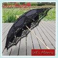 Vintage Paraguas Bordado de Encaje de Algodón Del Cordón de Battenburg Paraguas Negro Sombrilla Paraguas Nupcial de La Boda Decoraciones Envío Gratis