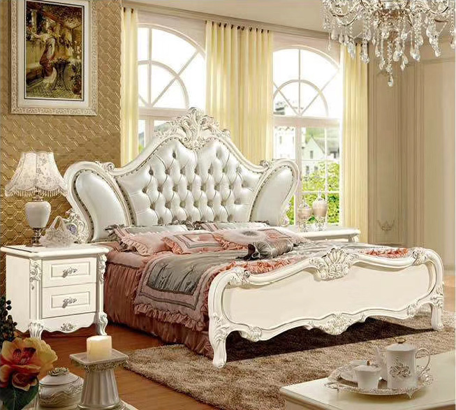 Moderna cama europea de madera maciza tallada a la moda 1,8 m muebles franceses de dormitorio DCXC926