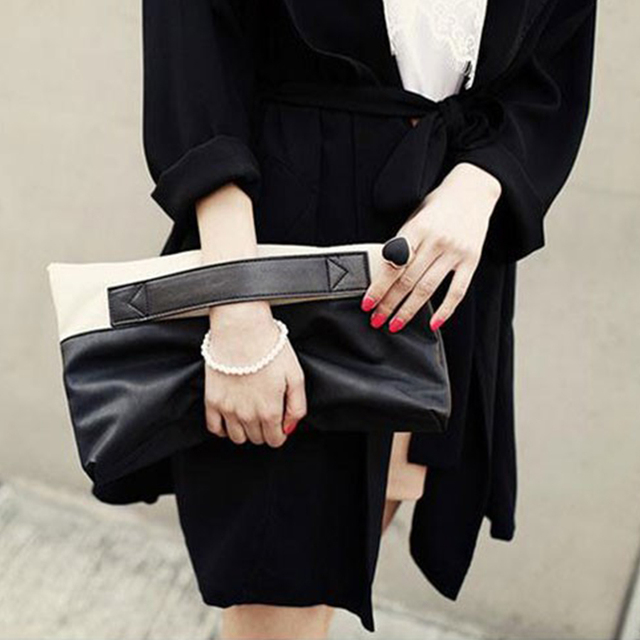 2016 Women Pu Leather Clutch Bag Fashion New Evening Clutch Bags Designer Brand Women Hit Color Folded Day Clutches