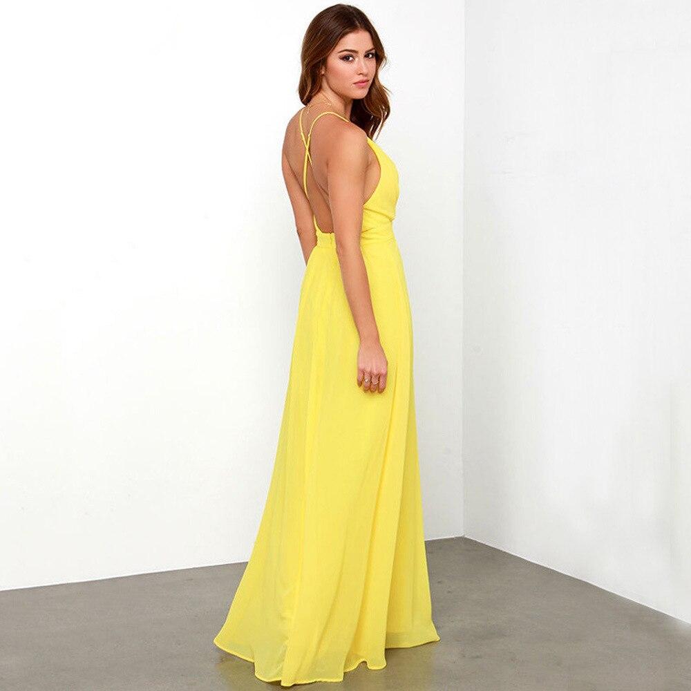 f5a70082f34dd € 28.73 |Été femmes vêtements en mousseline De soie Bandage robe jaune  robes De soirée robe De bal Maxi Boho longue robe De plage Vestidos De ...
