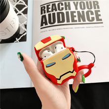 Cartoon Stereo Hero Iron Man For Airpods case Silicone Wireless Bluetooth Headset 1/2 Charging Protection Pack