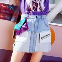 ELF SACK Summer Women Denim Skirts Asymmetrical Cut Hem Mini Skirts Female Printing Pockets Denim Skirts