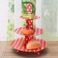 3 Tầng DIY Giấy Cupcake Đứng Dissert Kẹo Lưu Trữ Chủ Rack Wedding Birthday Party Bánh Hiển Thị Phục Vụ Phục Vụ Công C