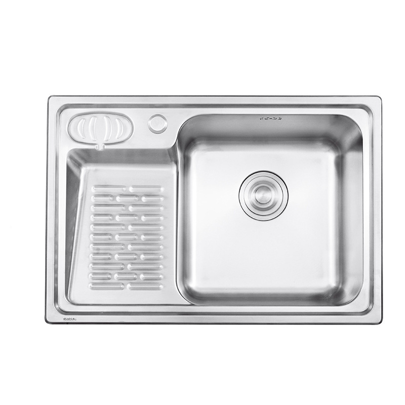 Single Bowl 304 Stainless Steel Laundry Sink Large Size Outdoor Balcony Laundry Pool With Washboard Single Trough Package