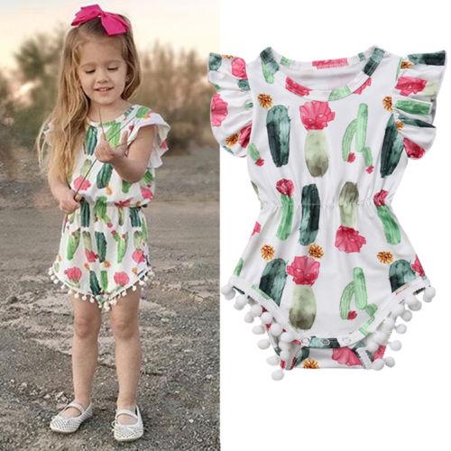 Newborn Toddler Baby Girls Summer Lovely   Romper   Short Petal Sleeve Cactus Print Tassel Elastic Waist Jumpsuits 0-24M