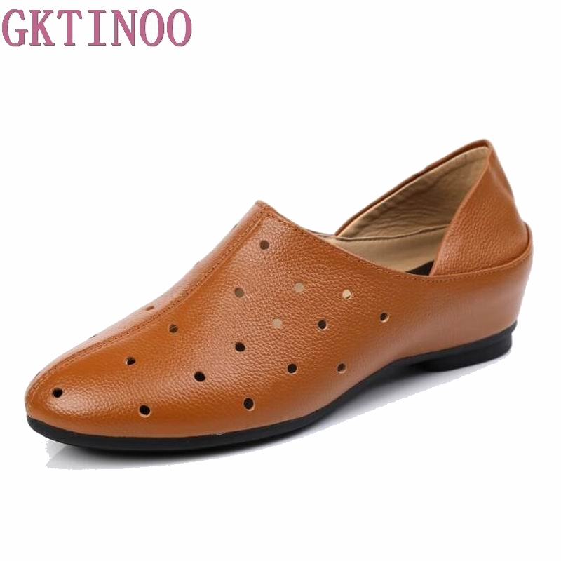 GKTINOO Breathable Genuine Leather Shoes Woman Summer Hollow Out Fashion Casual Shoes Slip On Round Toe