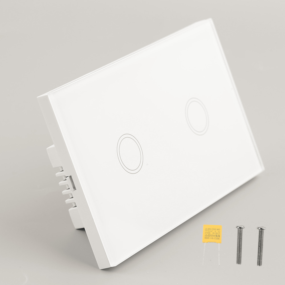 2 gang Touch Senser Wall Switch White Crystal Glass Panel 2 Circuit US Plug Light Screen Switch With LED Indicator Smart Home smart home us black 1 gang touch switch screen wireless remote control wall light touch switch control with crystal glass panel