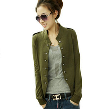 2016 new Plus size shorts women clothing Black Military Jacket green korean women's coats outwears summer winter New