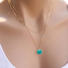 New Fashion Jewelry For Women Double Layer Silver Color Necklace Nature Blue Stone Delicated Neck Jewelry kolye(China)