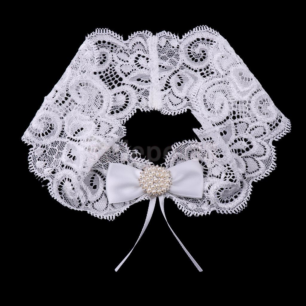 Wedding Bowknot Rhinestone Pearls Lace Garter Bride Flower Applique Keep Toss Bridal Shower White Bride Sling Garter