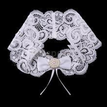 La boda lazo nudo Rhinestone perlas encaje Liga novia flor Applique Keep Toss nupcial ducha blanco novia Sling liguero