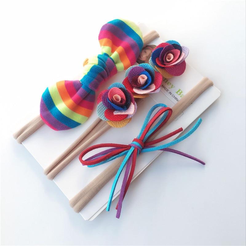 3pcs / set Νέα Άφιξη Λουλούδι Headbands Παιδιά Καπέλα Μπουκάλια Μαλλιών Αξεσουάρ Μαλλιών Bowknot Κεφαλάκι