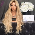 Wholesale cheap price blonde lace front wig 1b dark roots ombre wig heat resistant hair synthetic lace front wig for black women