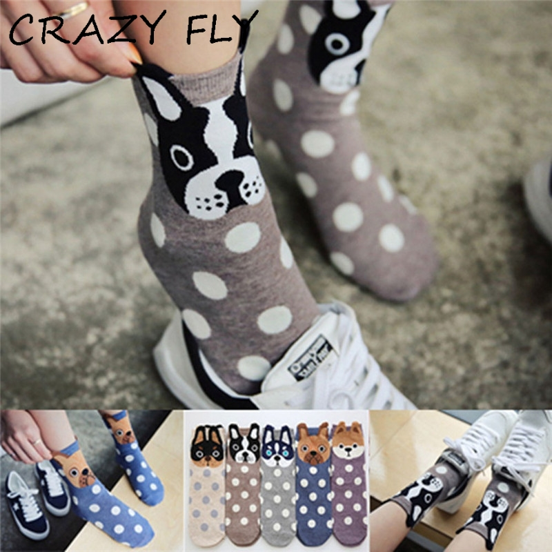 CRAZY FLY 2018 Autumn And Winter Womens Socks Small Ear Cartoon Animal Series Cute dog Harajuku Style meias Funny Socks Gifts