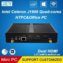 XCY Мини ПК Intel Celeron J1900 Quad ядер Бытовая HTPC Малый Настольных Barebone Безвентиляторный Компьютер Dual HDMI WI-FI Winodows 10