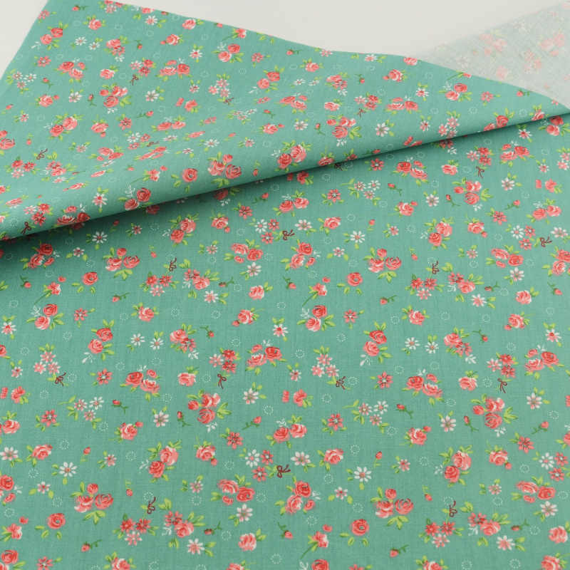 Cotton Fabric Green Flower Patchwork Teramila Fabrics Quilting Doll Sewing Cloth Cover Home Textile Decoration Bedding Clothing