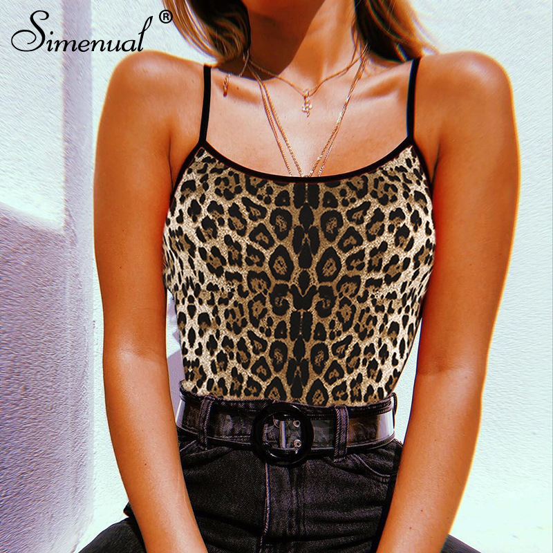 9806fd08572b Simenual Leopard backless strap bodysuit one piece bandage camis sexy  bodysuits women summer beachwear jumpsuit sleeveless