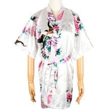 Детский халат, сатиновое детское летнее кимоно, банные халаты, платье с цветочным принтом для девочек, халат, ночная рубашка для сна, ночная рубашка павлиньей расцветки