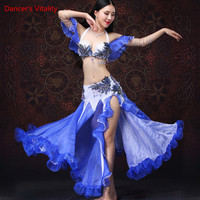 Stage Performance Egyptian Belly Dance Costume Oriental Style Rhinestone Skirt 2 pcs Sexy split ends Belly dance Set Costume