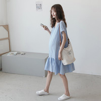 Summer Maternity Dresses Mother Pregnancy Blue Solid Color Dress Short Sleeve V Neck Dress Pregnant Woman Loose Home Clothes