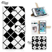 For Apple iPhone 6s Case Classic Tartan Pattern Wallet Flip Cover For iPhone 6 6G PU Leather Phone Case Cover + Film