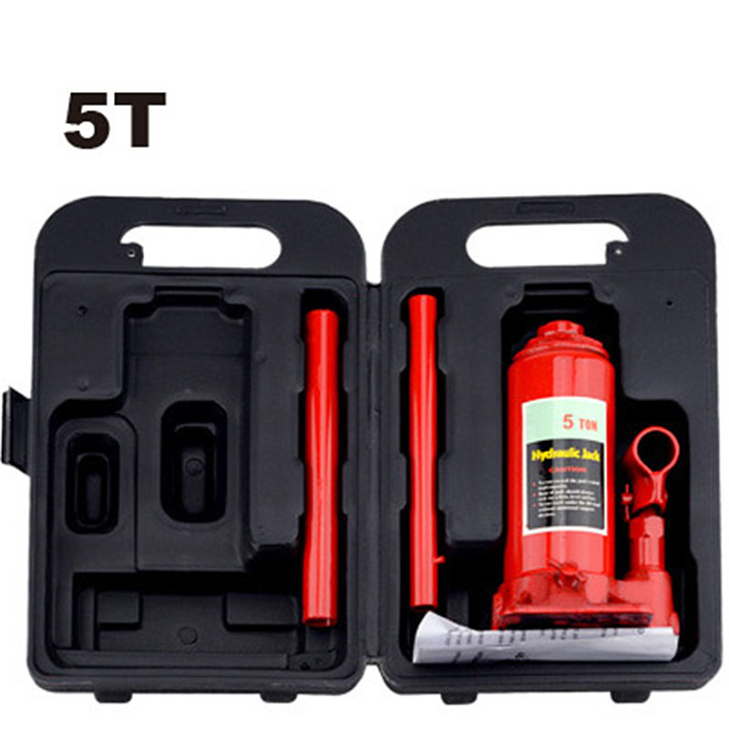 5T hand hydraulic car jack vertical automobile van suv tire replace useful tool plastic case package light weight