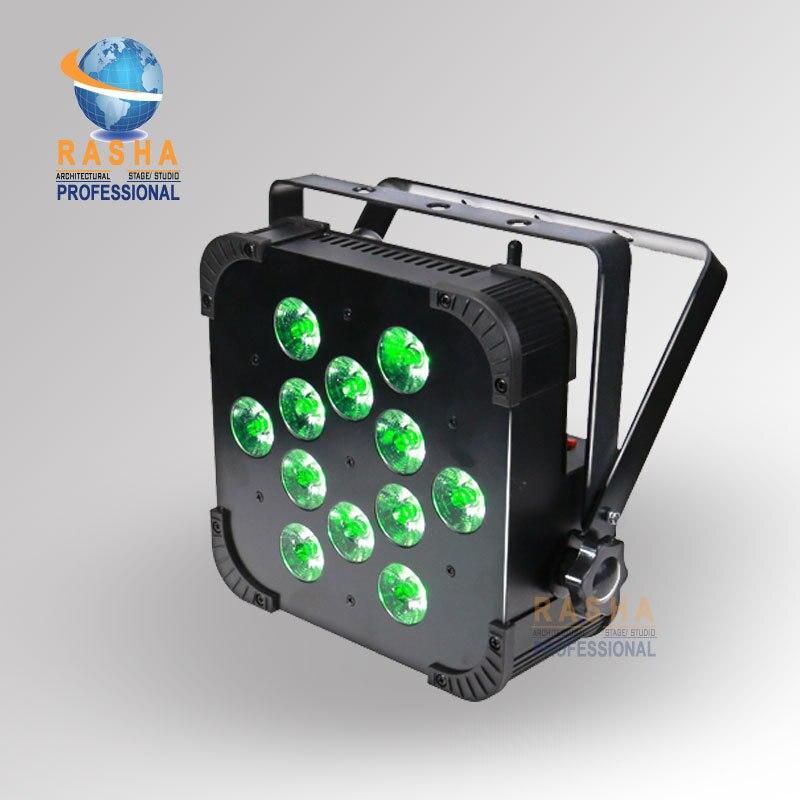 Rasha New Big Sale 12pcs*18W 6IN1 RGBAW+UV Built in Wireless LED Flat Par Can,ADJ LED Par Light,Stage Light With DMX512 110 240V