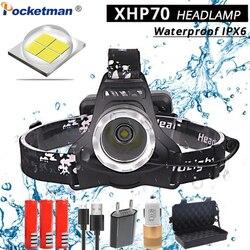 40000LM XHP70 светодиодный налобный фонарь мощный фара usb зарядка голова факел фонарь 3*18650 батарея охота кемпинг огни