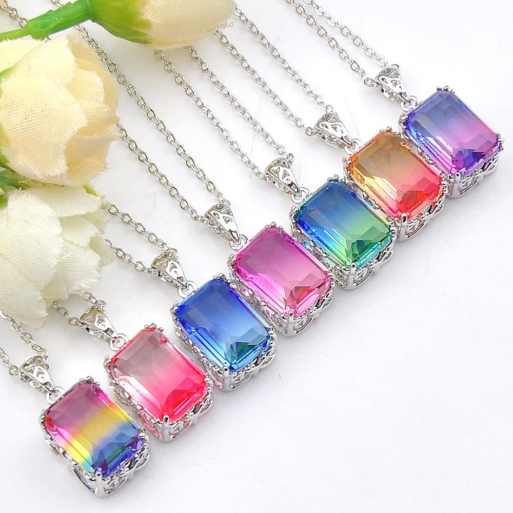 Happy Birthday Handmade Rectangle Bi-color Tourmaline Silver Necklace Pendants
