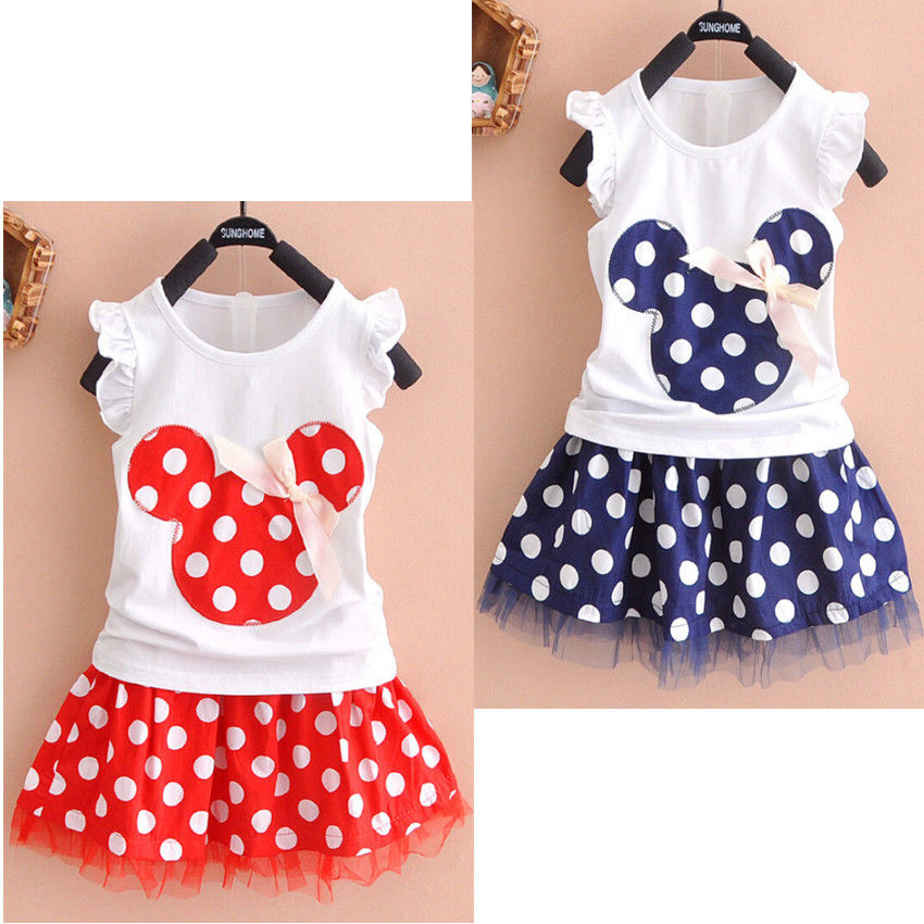 be17bca1136b7 Minnie Mouse Clothes Set Kids Baby Girls Summer Outfits Clothes Sleeveless  T shirt Tops Polka Dot Tutu Skirt Party-in Clothing Sets from Mother & Kids  on ...