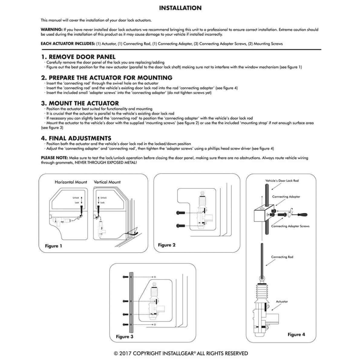 Universal Black 12V 2 Wire Car Auto Truck Heavy Duty Power Door Lock on