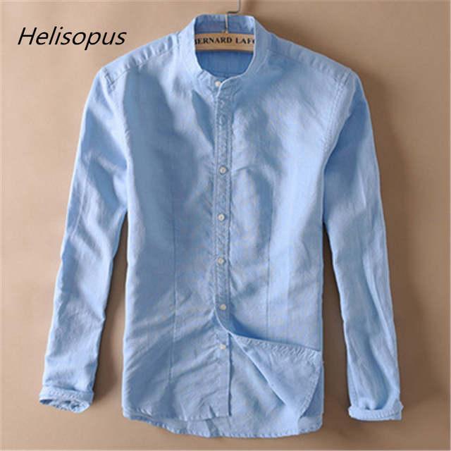d9ef60e322c2 Helisopus Solid Linen Shirt Men Autumn Long Sleeve Mandarin Collar Full  Sleeve Cotton Shirts for Men