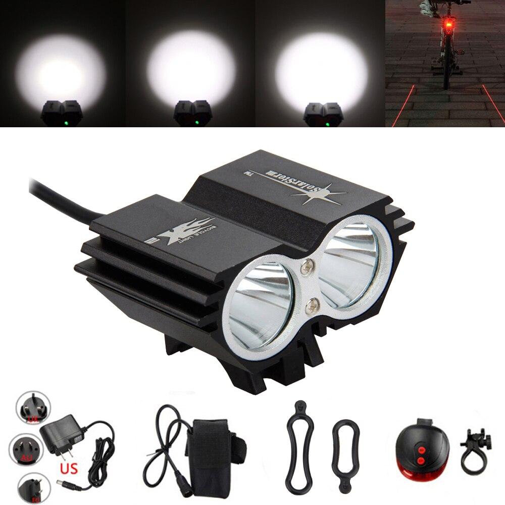 7000 Lumen Luce Della Bici 2x XM-L U2 LED Ciclismo Testa del Faro Della Luce Luci flash di luce anteriore + Posteriore di Sicurezza Posteriore luce
