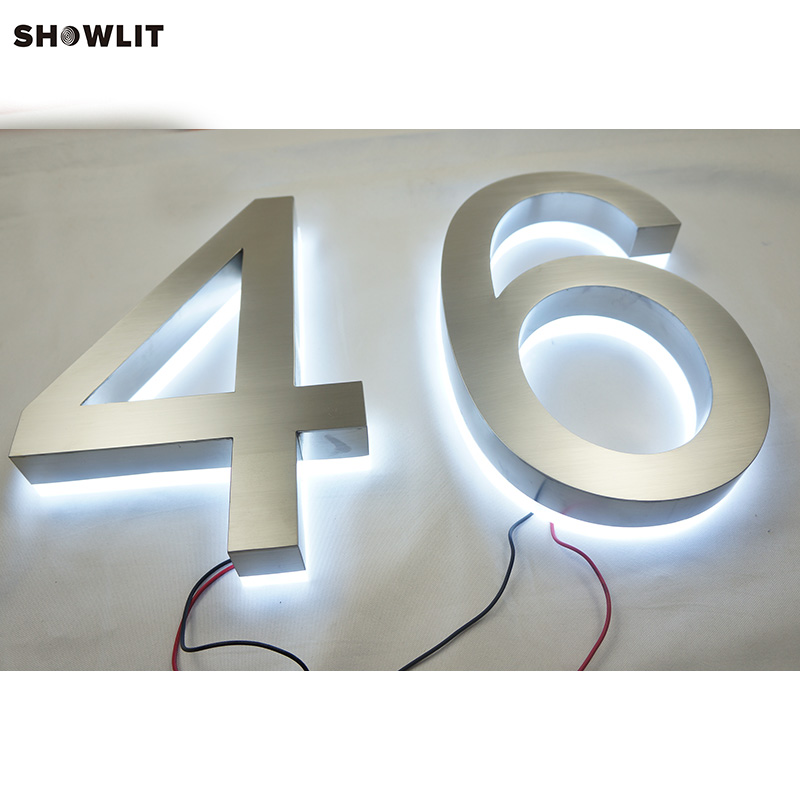 14'' Two Numbers Brushed Stainless Steel Cold White LED Backlit Individual Numbers